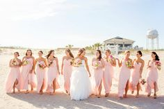 Amy Allen Photography. Blush pink bridesmaid dresses. The Surf Club. Wrightsville Beach