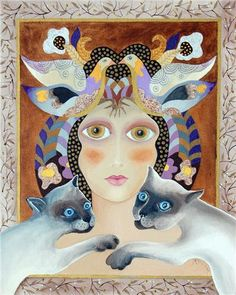 Rezzan Ganiz Woman Portrait, Female Portrait, Local Painters, Cat Drawing, Beautiful Cats, Cat Art, Fantasy Art, Fairy Tales, Digital Art