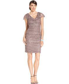 Patra Dress, Capsleeve Sequin-Lace