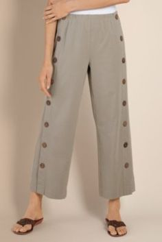 Newport Beach Pants - Ankle Length Pants, Full Elastic Waist, Coconut Buttons | Soft Surroundings