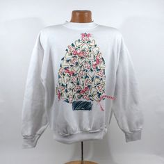 Ugly Christmas Sweater Vintage Sweatshirt Party Xmas tree Tacky Holiday Size XL