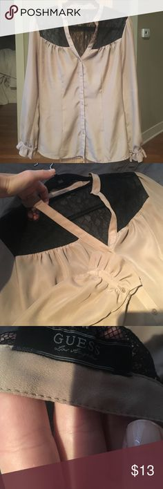 GUESS blouse! Guess brand. Like new! Tan & black with sexy lace. Worn twice tops. Small string snag on the side seam where the side could easily be sewed up (all though could be worn as is--it's not an issue, shown in pic 4). Guess Tops Blouses