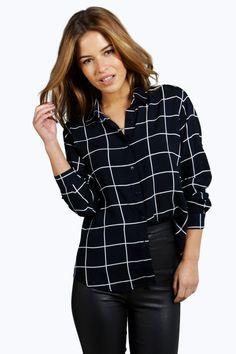 Petite Clara Grid Print Oversized Shirt 7611588763
