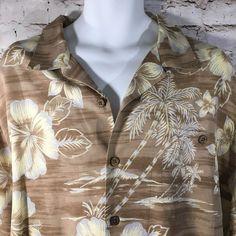 e4a859e1 Hilo Hattie Hawaiian Shirt XL Camp Aloha Men's 100% Silk Tan White  #HiloHattie #