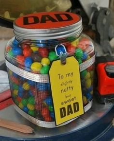 -----Birthday Gift for Dad or fatherly figure, also perfect for Fathers' day-----Large Mason Jar filled with M&Ms