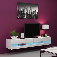 Wall Mount Tv Stand, Led Tv Stand, Floating Tv Stand, Floating Wall, Tv 40, Hanging Tv, Flat Screen Tv Stand, Buffet Design, White Tv Stands