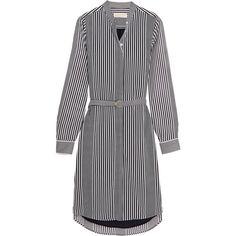 MICHAEL Michael Kors Corsican striped chiffon shirt dress (10.745 RUB) ❤ liked on Polyvore featuring dresses, white striped dress, long white shirt dress, white dress, white day dress and t-shirt dresses