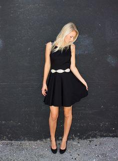 Amanda Uprichard Backless Skater Dress in Black - Swank Boutique