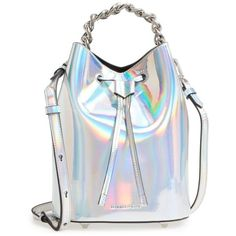 Women's Kendall + Kylie Mini Ladie Bucket Bag (€190) ❤ liked on Polyvore featuring bags, handbags, shoulder bags, silver iridescent, bucket bags, silver shoulder bag, mini purse, silver purse and mini shoulder bag