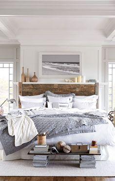 Une chambre douillette à souhaite #maison #habitation via Coastal Style: Cool & Calm