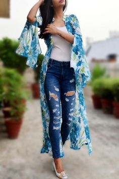 Buy this white printed long shrug by colorauction from www. Stylish Dresses, Stylish Outfits, Cute Outfits, Summer Outfits, Kurta Designs, Saree Jacket Designs, Kimono Fashion, Fashion Dresses, Long Shrug