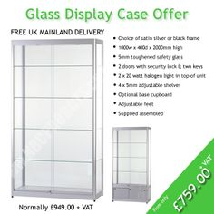 Glass display case offer from Notice Board Companies display site www.nbcproducts.co.uk. Save almost £200.00