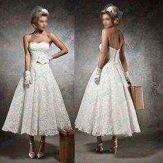 New White Ivory Lace Tea Length Vintage Wedding Dress in Stock Size 2 16 Custom | eBay