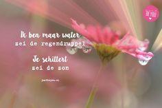 Ik ben maar water zei de regendruppel ,je schittert zei de zon -Justbeyou Courage Quotes, Me Quotes, Dutch Quotes, Just Be You, Pretty Words, Printable Quotes, Life Inspiration, Good Mood, Better Life