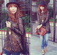 Fedora, Romwe Lace Top, Clutch, Jeans, Primadonna Loafers, Vintage Locket