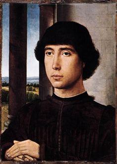 Hans Memling, Portrait of a Man at a Loggia, c 1480, oil