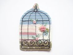 Birdcage textile brooch by maxollieandme on Etsy, £6.50