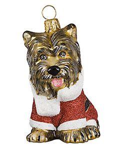 Joy To The World Santa Paws Yorkie Glass Ornament