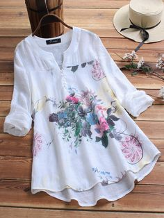 O-NEWE Vintage Print Patchwork Plus Size Blouse for Women can cover your body well, make you more sexy, Newchic offer cheap plus size fashion tops for women. Plus Size Blouses, Plus Size Dresses, Vintage Blouse, Vintage Prints, Vintage Floral, Blouses For Women, Plus Size Fashion, Ideias Fashion, How To Wear