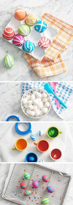 tape or rubber band dyed eggs - interesting designs