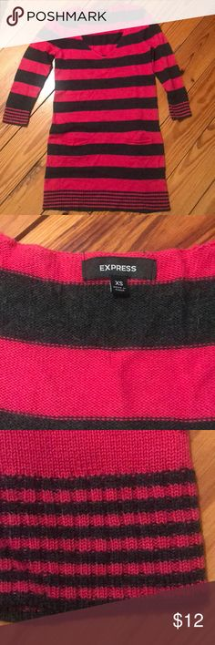 Express Knit Sweater Dress With Pockets Cute and super soft pink and gray striped sweater dress. Dress has cropped sleeves and pockets! Express Dresses