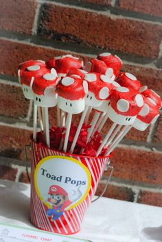 Mario toad marshmallow pops at a video game party!  See more party ideas at CatchMyParty.com!  #partyideas #videogame