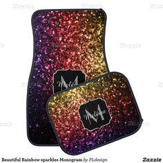 Beautiful Rainbow sparkles Monogram Floor Car Mat Set by #PLdesign #RainbowSparkles #SparklesGift