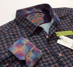 Robert graham collection. Classic fit. Lying flat down approx. size measurements Made in India. | eBay!