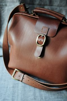 Hand Stitched Brown Leather Doctor Bag/ by ArtemisLeatherware