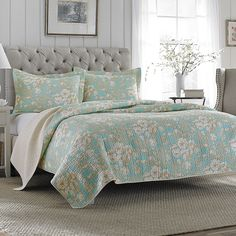 #LauraAshley Brompton #Quilt Set. #bed #beddingstyle #bedroom #bedding #aqua #floral #taupe