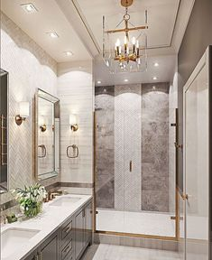 Bathroom decor, Bathroom decoration, Bathroom DIY and Crafts, Bathroom home design Bathroom Interior Design, Decor Interior Design, Interior Decorating, Decorating Bathrooms, Decorating Ideas, Gold Interior, Home Design, Dream Bathrooms, Beautiful Bathrooms