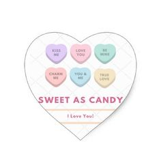 Sweet As Candy - I Love You Heart Sticker - #customizable create your own personalize diy