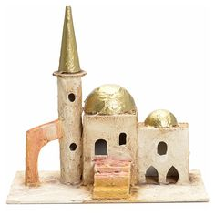 Alminar techo dorado con torre para pesebre 18x19x11   venta online en HOLYART