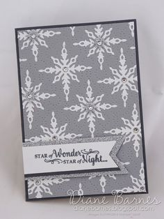 handmade Christmas card using Stampin Up Star of Light - Starlight stamp & die bundle & inlaid embossing technique. 2016 holiday catalogue. By Di Barnes #colourmehappy