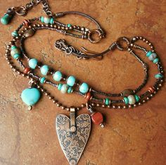 REMINDER:  USE HOWLITE HEARTS FOR FOCAL ON BRACELETS...........Heart Necklace Southwest Copper Damask Charm by lunedesigns