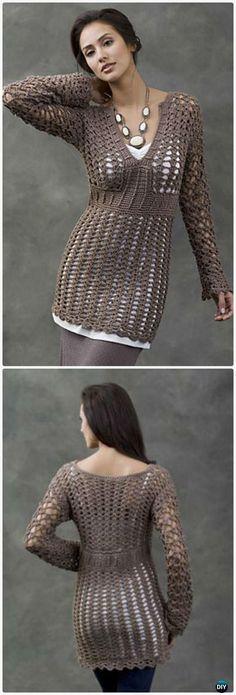 Crochet Talca Lace Tunic Free Pattern - Crochet Women Pullover Sweater Free Patterns
