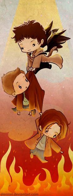 Supernatural Team Free Will: Castiel Dean and Sam