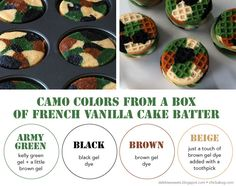 How to make camo colored cupcakes from a box of French Vanilla cake batter
