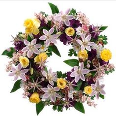 Front Door Wreath Clematis Anemone Flower Garden