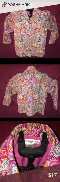 "Coldwater Creek Paisley Cotton Sequin Blazer XL Multiple colored paisley sequined floral jacket blazer size XL measurements: armpit to armpit 23"" length 25 1/2"" 100% cotton lining 100% polyester Coldwater Creek Jackets & Coats Blazers"
