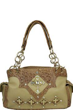 Bottom Cross Western Handbag Beige