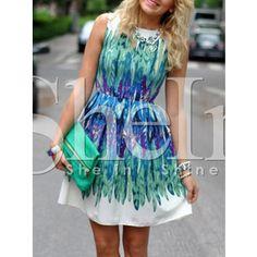 SheIn(sheinside) White Green Dyed Iridescent Puffball Sleeveless Feather Print Dress