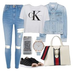 """""""Untitled#1566"""" by mihai-theodora ❤ liked on Polyvore featuring River Island, rag & bone, Calvin Klein, adidas, Agent 18, Olivia Burton and Gucci"""