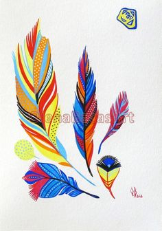 Feather Art ORIGINAL Watercolor Gouache Painting Feather Illustration Mixed Media Nursery room Decor SALE Feather Painting, Feather Art, Blue Feather, Feather Illustration, Illustration Art, Art Wall Kids, Art For Kids, Yellow Feathers, Art N Craft