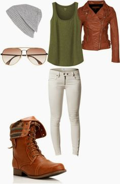 brown leather jacket white skinny jeans brown combat boots grey beanie- totally dig this look for a casual and cool California day! Combat Boot Outfits, Brown Combat Boots, Fall Winter Outfits, Autumn Winter Fashion, Looks Jeans, Sweater Weather, Casual Outfits, Cute Outfits, Look Fashion