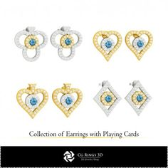 CAD Collection of Earrings with Playing Cards Cad Services, Cad Designer, Lion Ring, 3d Printable Models, 3d Cad Models, Jewelry Model, Designer Engagement Rings, Ring Designs, Good Music