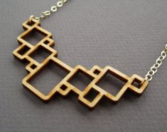 Squares (Small), Laser Cut Necklace / Geometric Necklace / Modern Jewelry