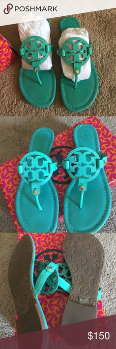 Tory Burch Miller Sandals 8.5 Tory Burch Miller sandals, turquoise patent leather sandals. 8.5 excellent condition, worn only once. Comes in box Tory Burch Shoes Sandals