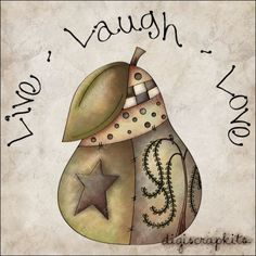 Live Laugh Love Pear 1 Clip Art Single