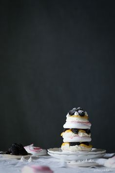 Rose and Blackberry Meringue Stack with Lemon Curd